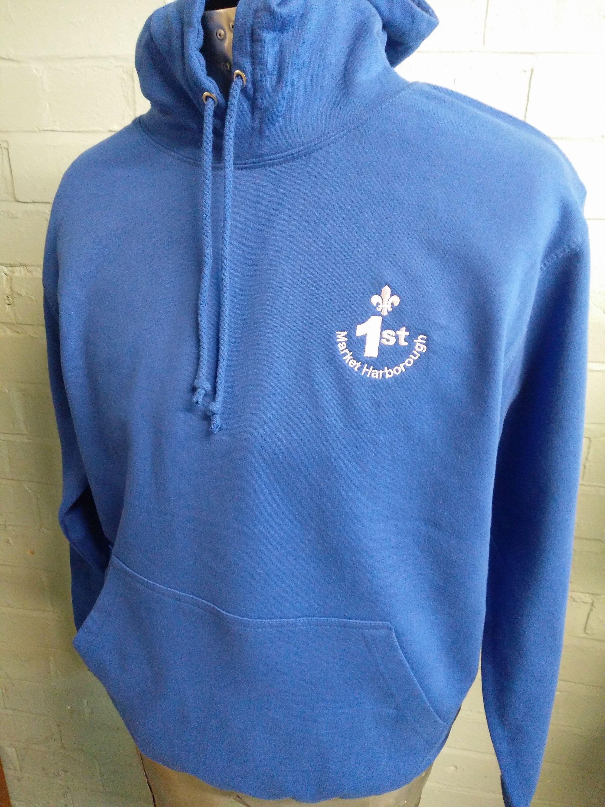 37008c8cf7a3f Blue printed and embroidered hoodies for 1st Market Harborough Scout ...