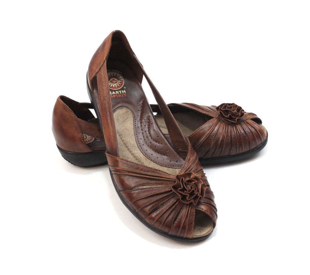 46415a3e Earth Spirit Womens Almond Brown Leather Open Toe Slip On Flats Shoes Size  11 #EarthSpirit #BalletFlats #Casual
