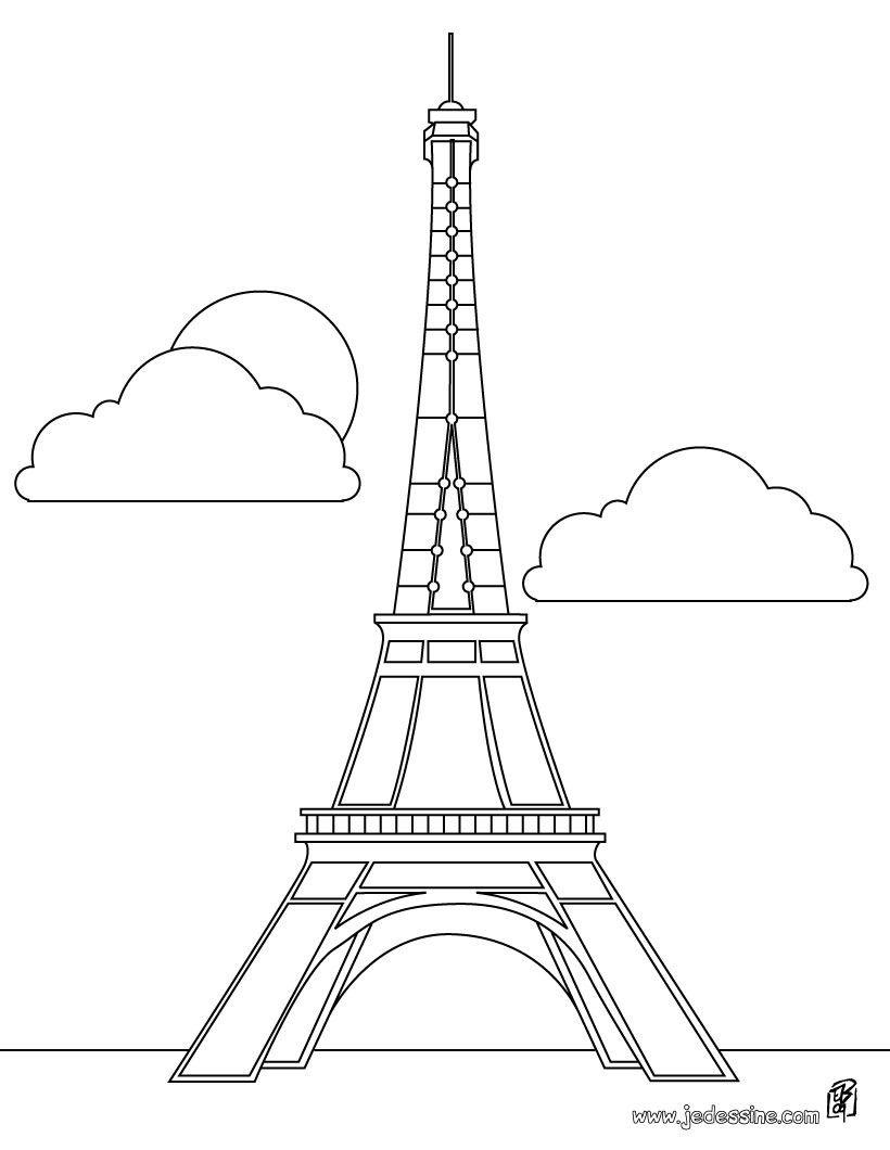 Coloriage De La Tour Eiffel à Paris Teaching French Little Kids