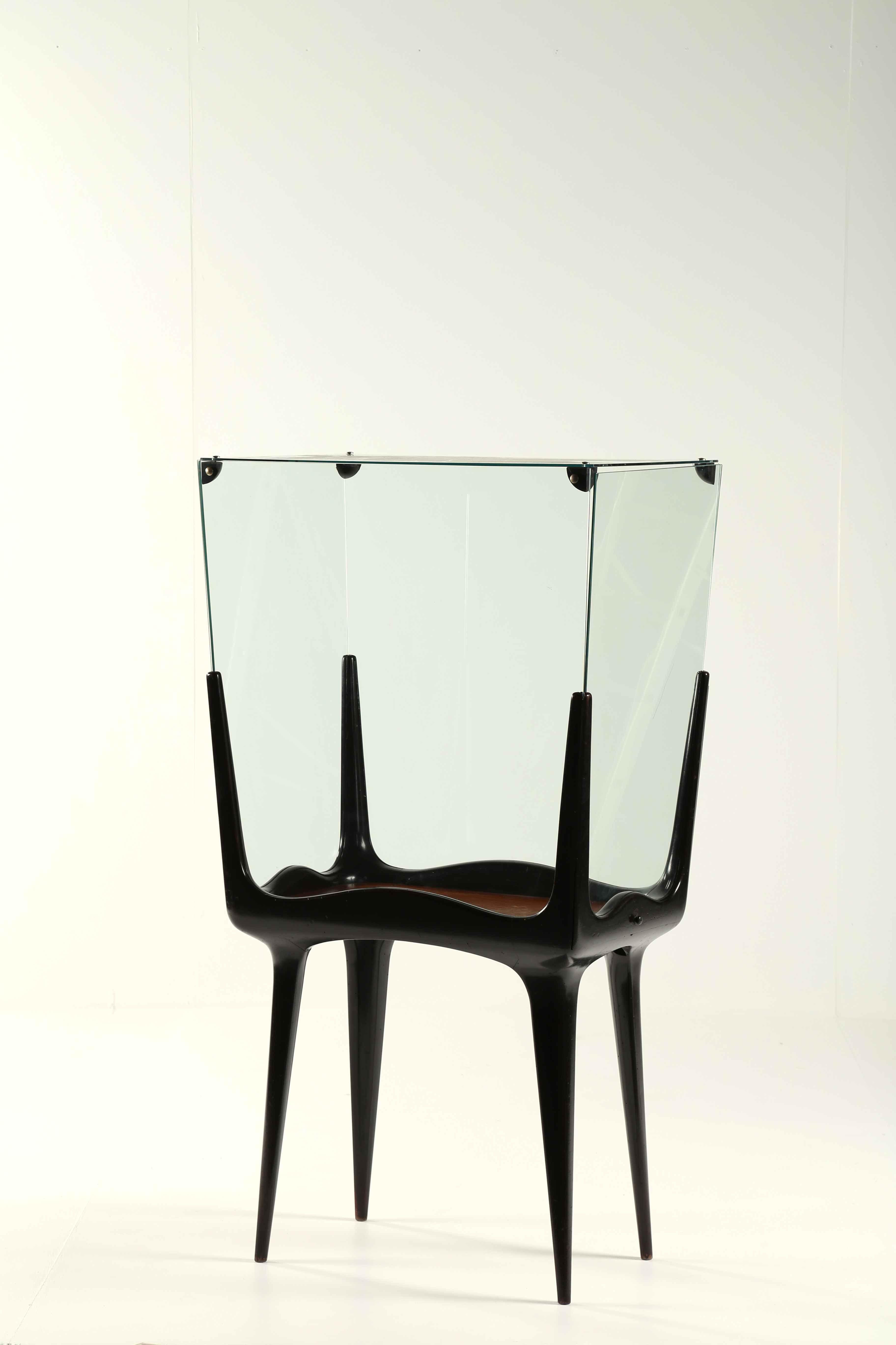 M :: Gianni Saibene; Ebonized Wood, Glass and Brass Display Case by Lussana, 1950s.