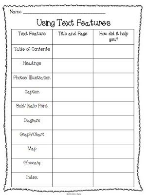 Non Fiction Text Features Study Plus A Few Freebies School