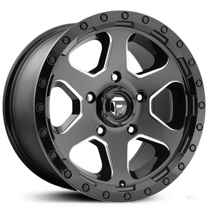 Fuel D590 Ripper Wheels Gloss Black Milled