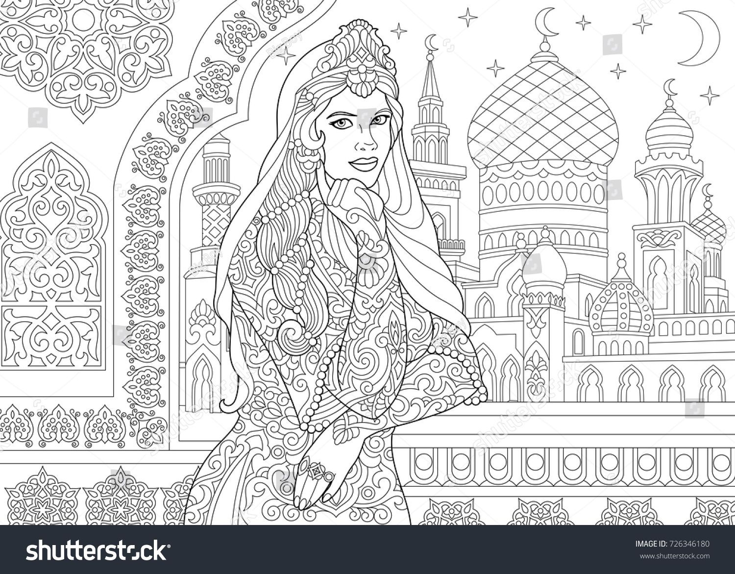 Coloring Page Of Turkish Woman Islamic Filigree Decor Arabic Mosque Crescent Moons And Stars On The Background Freehand Sketch Ausmalbilder Ausmalen Bilder