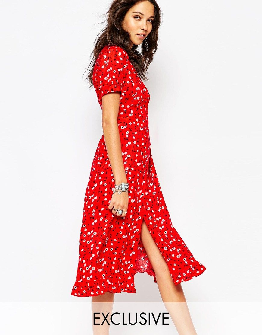 3df89005845 Image 1 of Reclaimed Vintage Midi Tea Dress With Wrap Front In Ditsy Floral