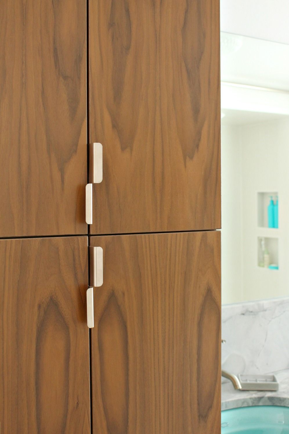 Vertical Pulls On Tall Cabinet Doors Mid Century Modern Bathroom