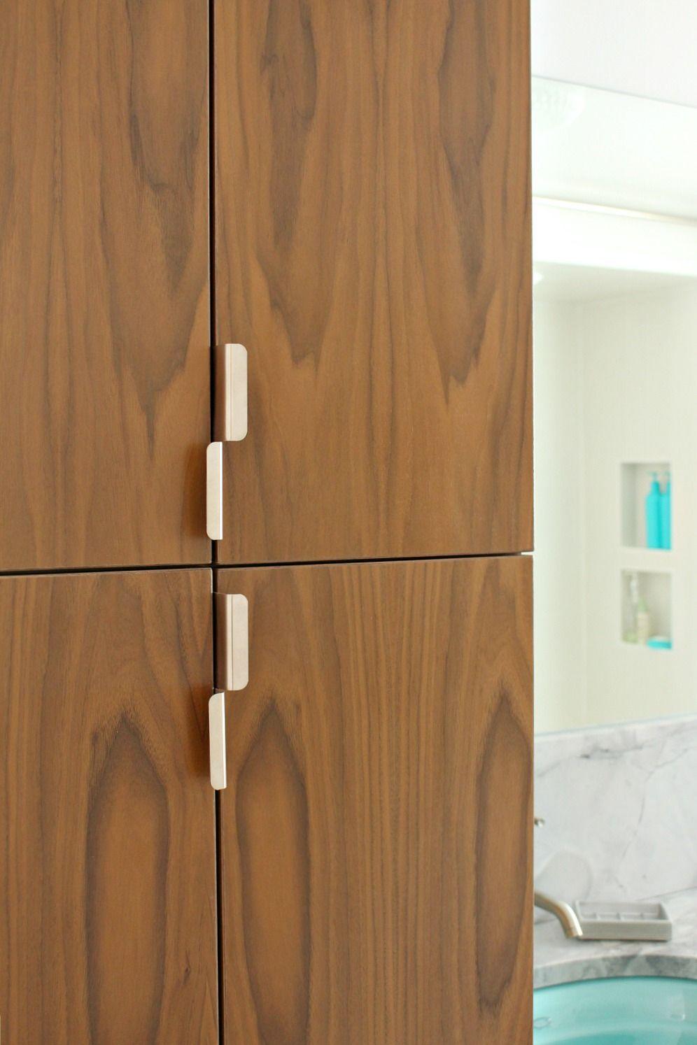 Dans Le Lakehouse Bathroom Reno Update Mid Century Modern Inspired Cabinet Pulls Modern Bathroom Elegant Bathroom Mid Century Modern Bathroom