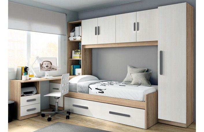 Dormitorio juvenil puente estilo moderno de melamina | combinacion ...