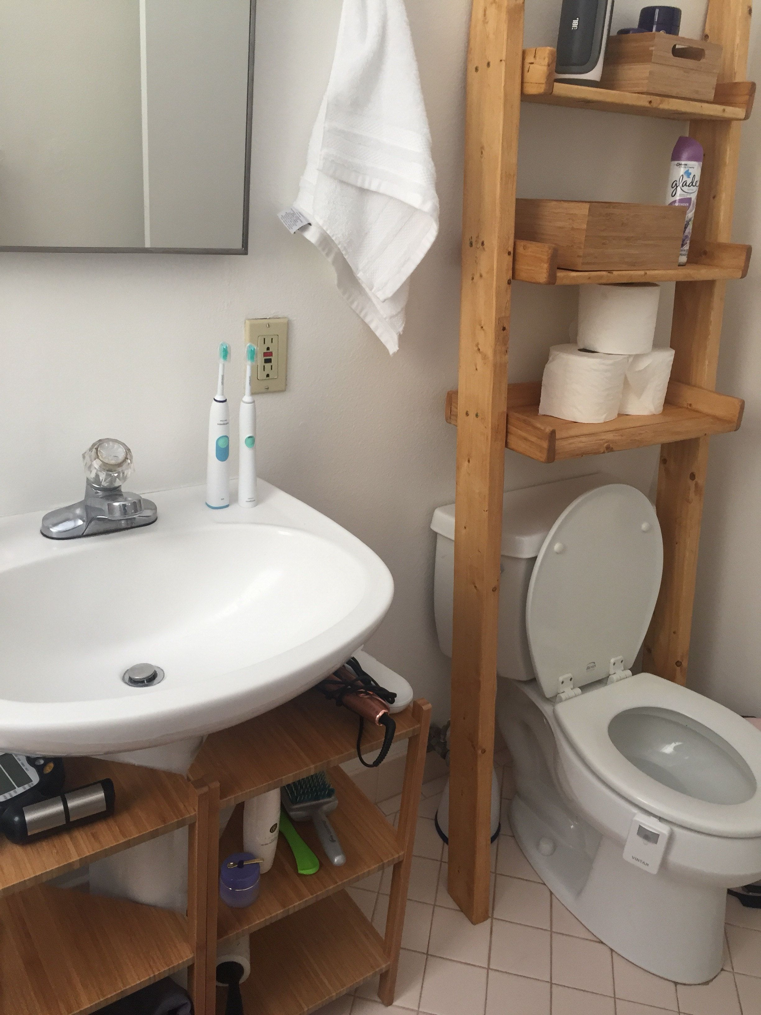 Over The Toilet Ladder Shelf, Choose Color Stain/paint, Bathroom Storage,  Leaning Ladder Shelf, Bathroom Ladder, Wood Shelf, Ladder Shelf