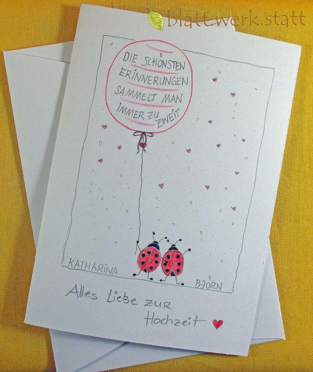 ** Motiv: Marienkäfer mit Ballon Hochwertige Faltkarte mit individuell auf …   – Geschenke