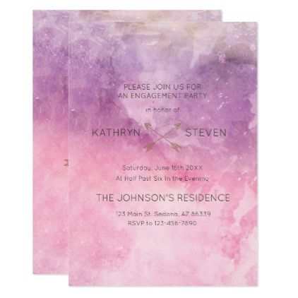 Monogram Typography in Watercolor Engagement Card - wedding - engagement card template