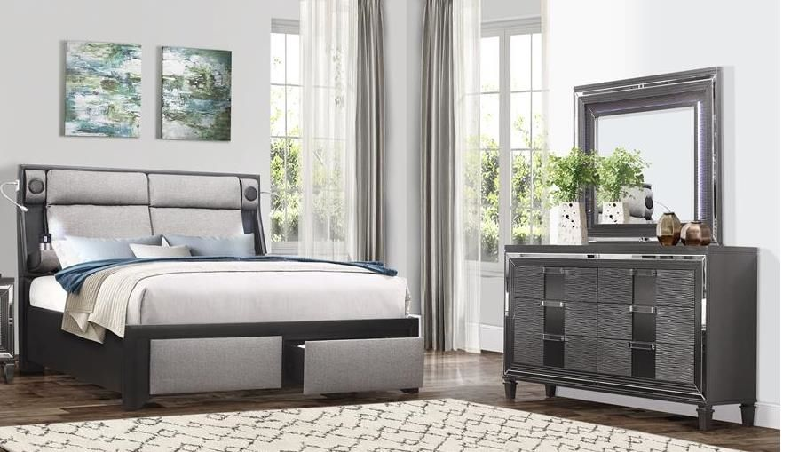 G9652 Black Gray King Size Bed In 2020 Black Upholstered Bed