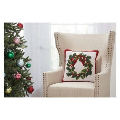 Incredible The Holiday Christmas Wreath Square Throw Pillow Cream Download Free Architecture Designs Rallybritishbridgeorg