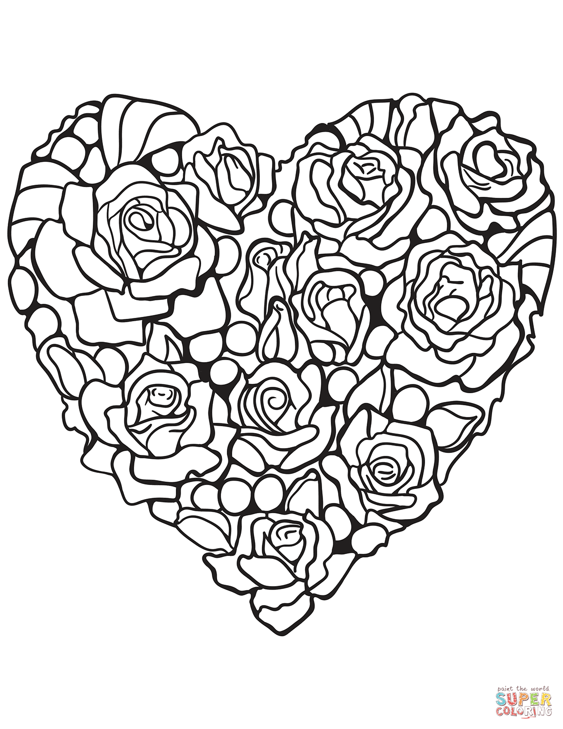 Heart Made of Rose Super Coloring Rose coloring pages
