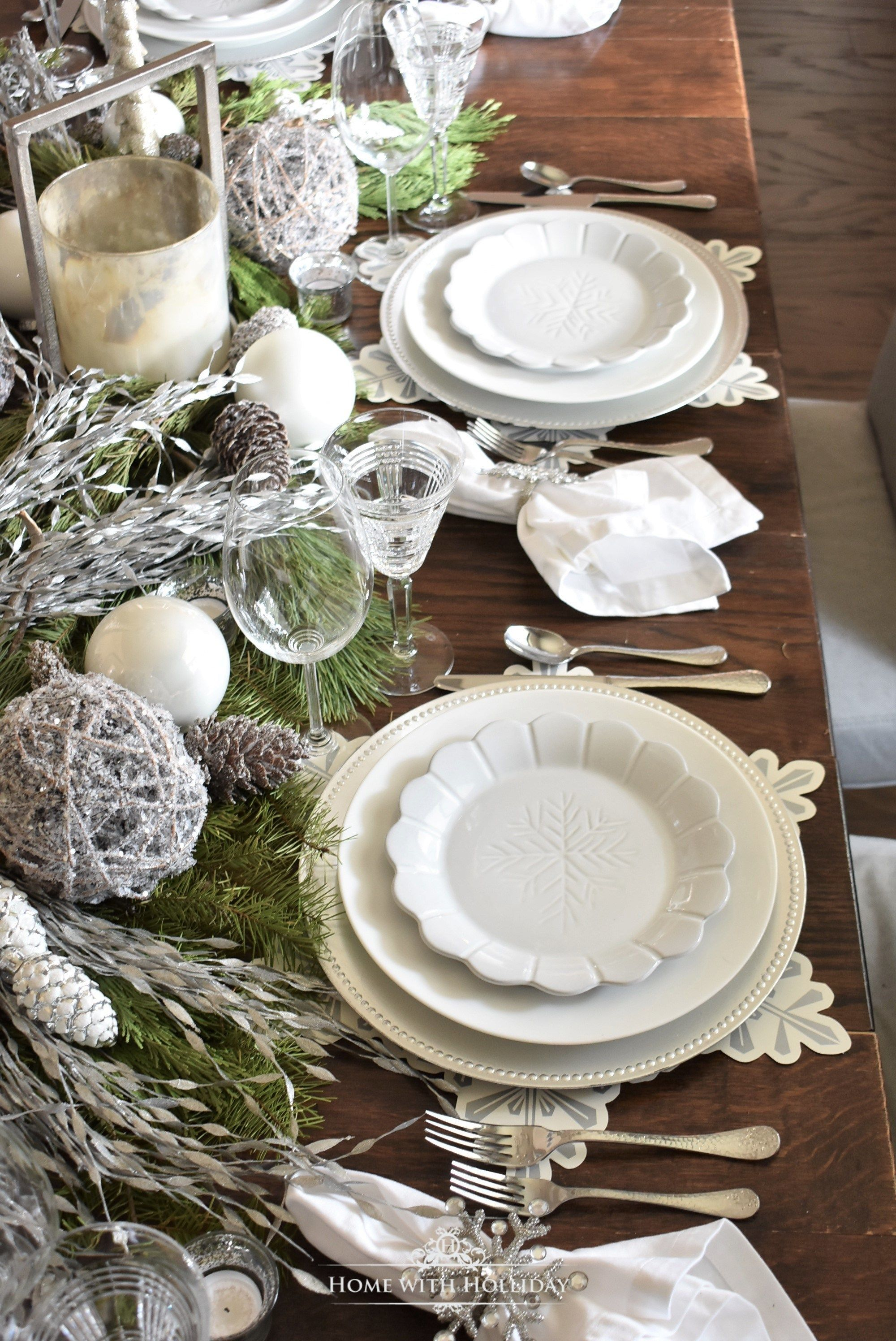 Winter White Snowflake Christmas Table Setting Winter Table