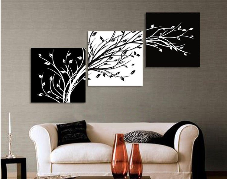 Find More Painting Calligraphy Information About 3 Panels Black White Trees Canvas Flower On