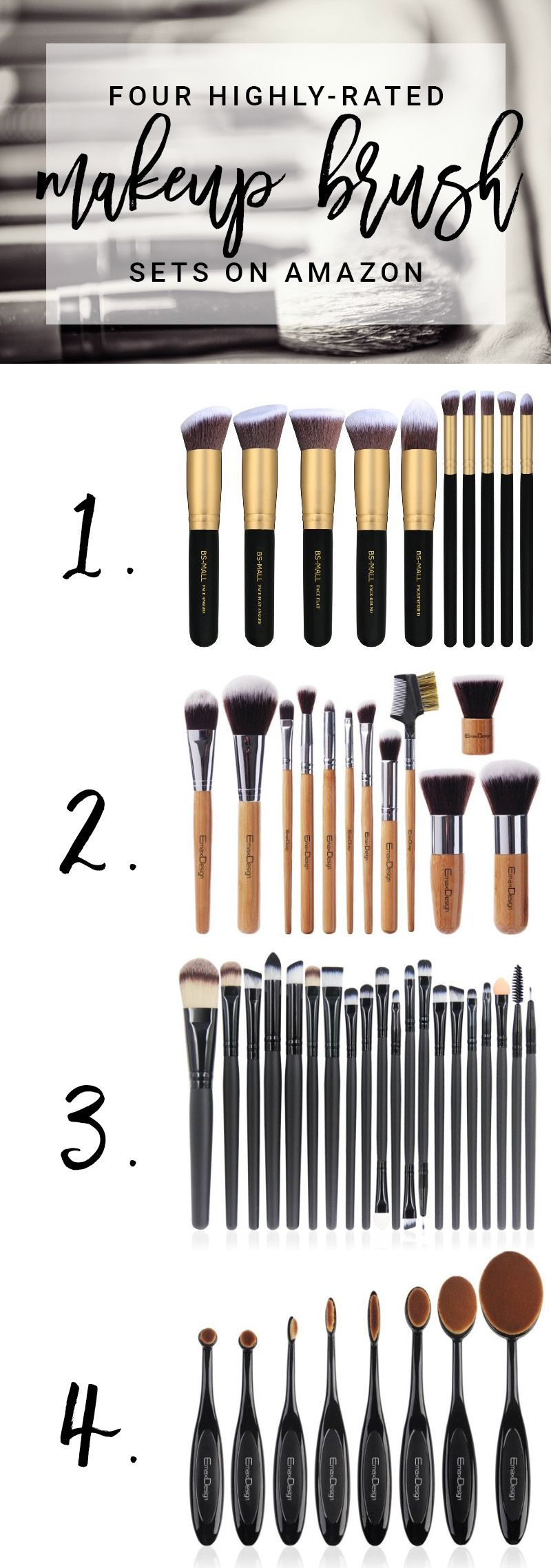 Beauty Steals Four Of The Highest Rated Makeup Brush Sets Avaialable On Amazon Makeup Brush Set Best Best Makeup Brushes Makeup Brush Set