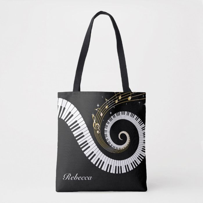 Personalized Piano Keys and Gold Music Notes Tote Bag