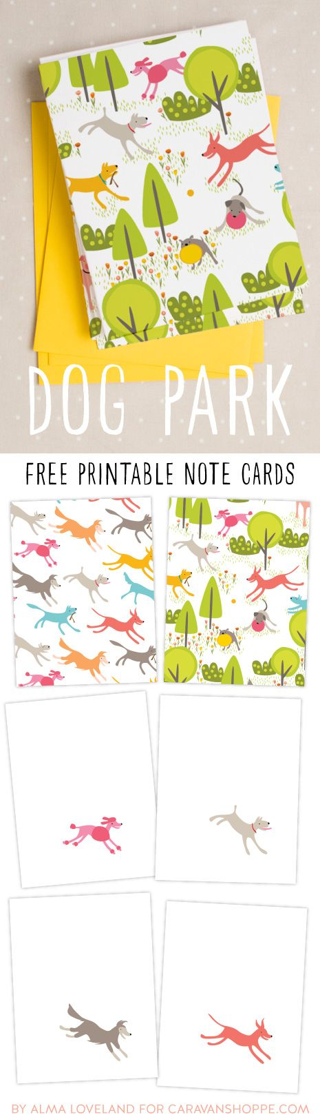 FREE printable doggy note cards! Download once and print again and again!