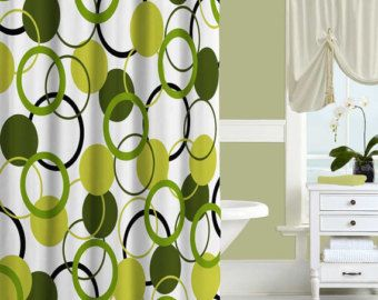 Unique Shower Curtain Olive Green Shower Curtain Bath Curtain