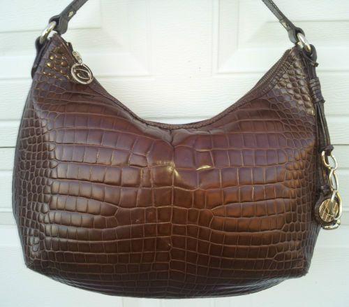 Authentic Vintage Oscar De La Renta Tote Hobo Bag Crocodile Embossed Leather Ebay
