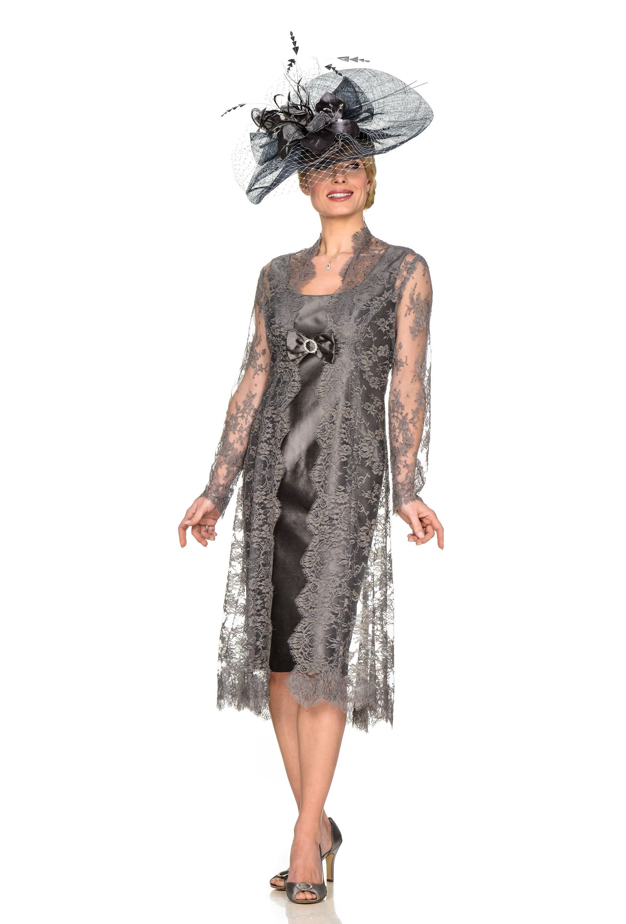 French lace coat over silk dress with matching sinamay hat | Joyce ...