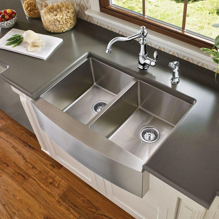Moen 1800 Series 30 X 21 Stainless Steel 18 Gauge Double Bowl Farmhouse Kitchen Si Stainless Farmhouse Sink Modern Kitchen Sinks Kitchen Countertops Laminate