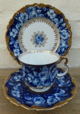 Vintage Rosenthal Alice Bavaria Blue Roses Tea Cup Saucer and Tea Plate Trio. - http://www.homedecoras.net/vintage-rosenthal-alice-bavaria-blue-roses-tea-cup-saucer-and-tea-plate-trio