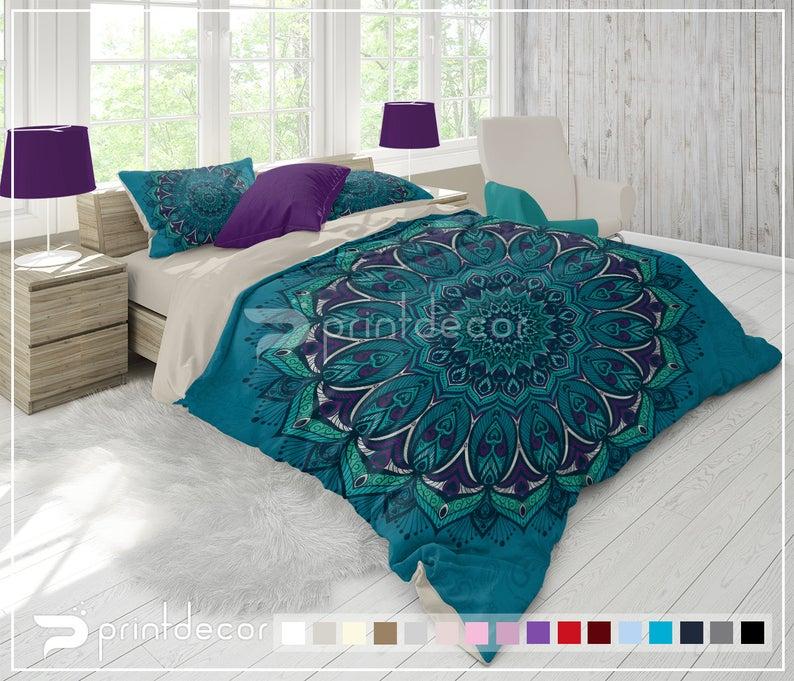 Peacock Mandala Bedding Set Boho Teal And Turquoise Duvet Etsy In 2021 Turquoise Duvet Cover Mandala Bedding Duvet Cover Sets