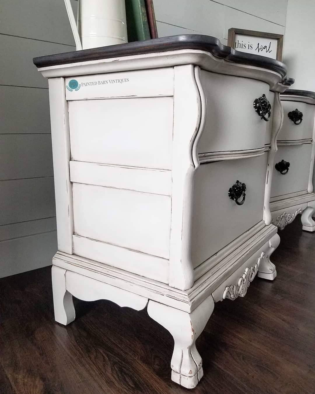 For These Nightstands I Used Dixie Belle Chalk Paint In Fluff Satin Top Coat And Best Dang Wax In Brown The Tops Were Sta Painted Furniture Chalk Grey Stain