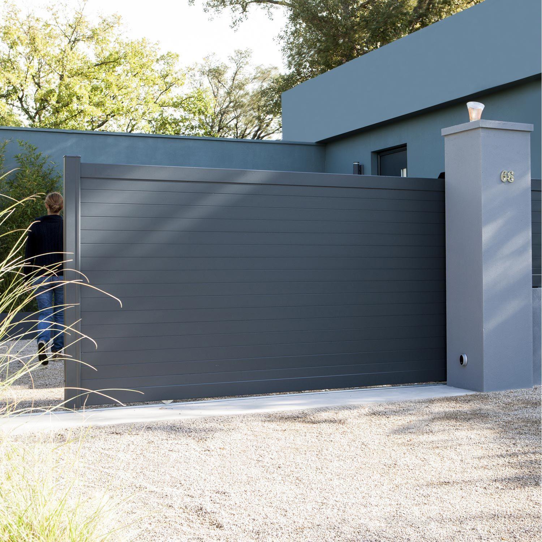 Portail Coulissant Alu Concarneau Gris Anthracite Naterial L 362 Cm X H 153 Cm Portoes De Entrada Tipos De Portao Portoes Automaticos De Garagem