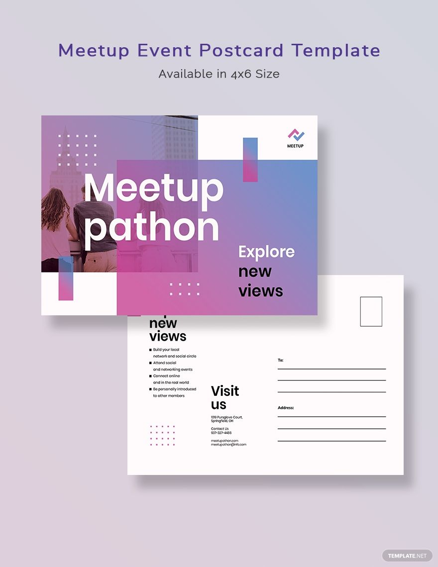 Meetup Event Postcard Template Word Doc Psd Indesign Apple Mac Pages Illustrator Publisher Postcard Template Postcard Meetup