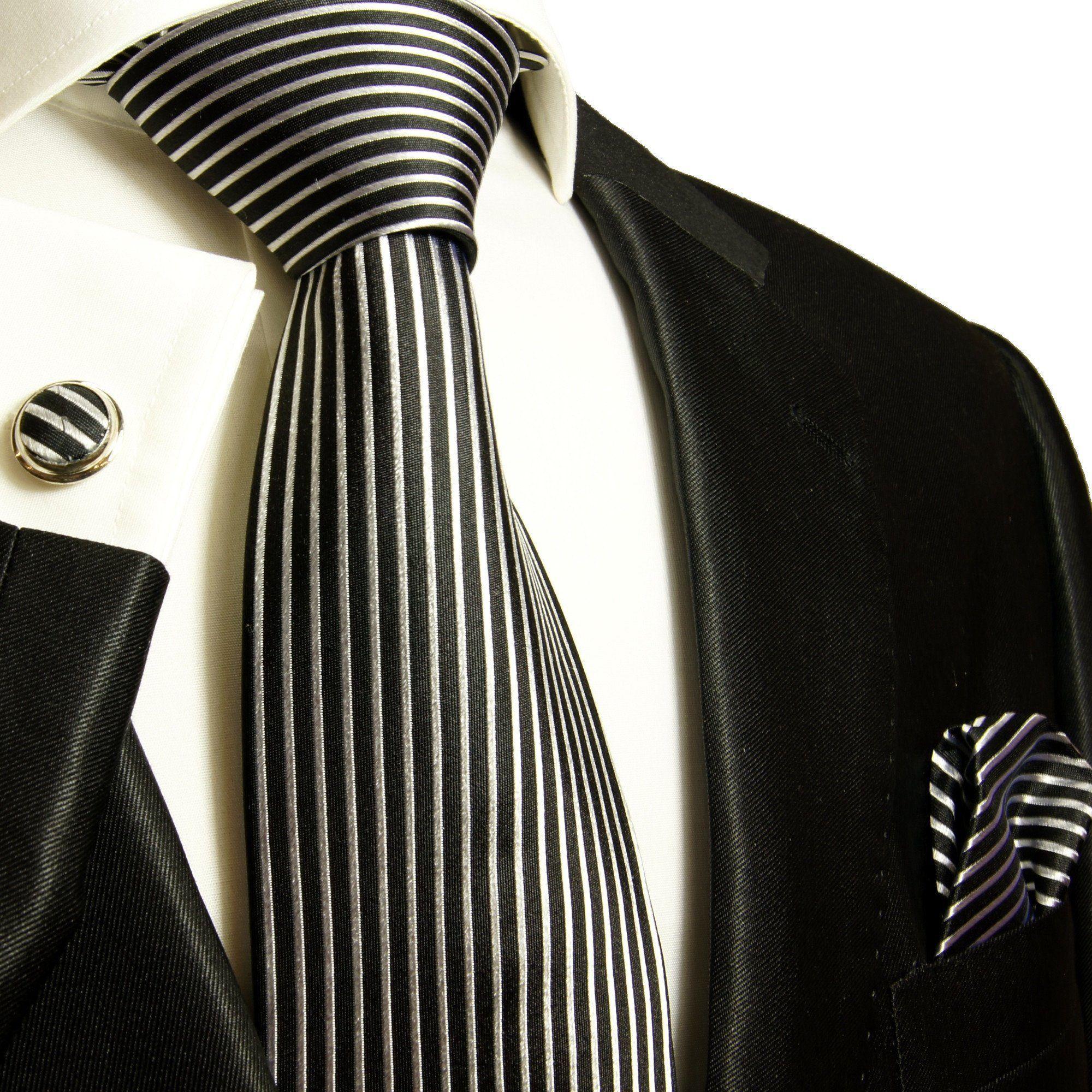 Silver And Black Zig Zag Pattern Men/'s Necktie 100/% Silk Tie