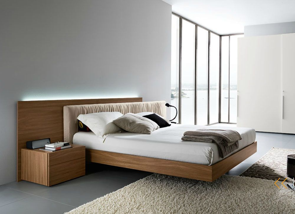 Contemporary Bedgroup Set With Fabric Headboard In Italian Walnut High End Luxury Style Bedroom Set The Standard Bed Bed Design Bedroom Design Modern Bedroom