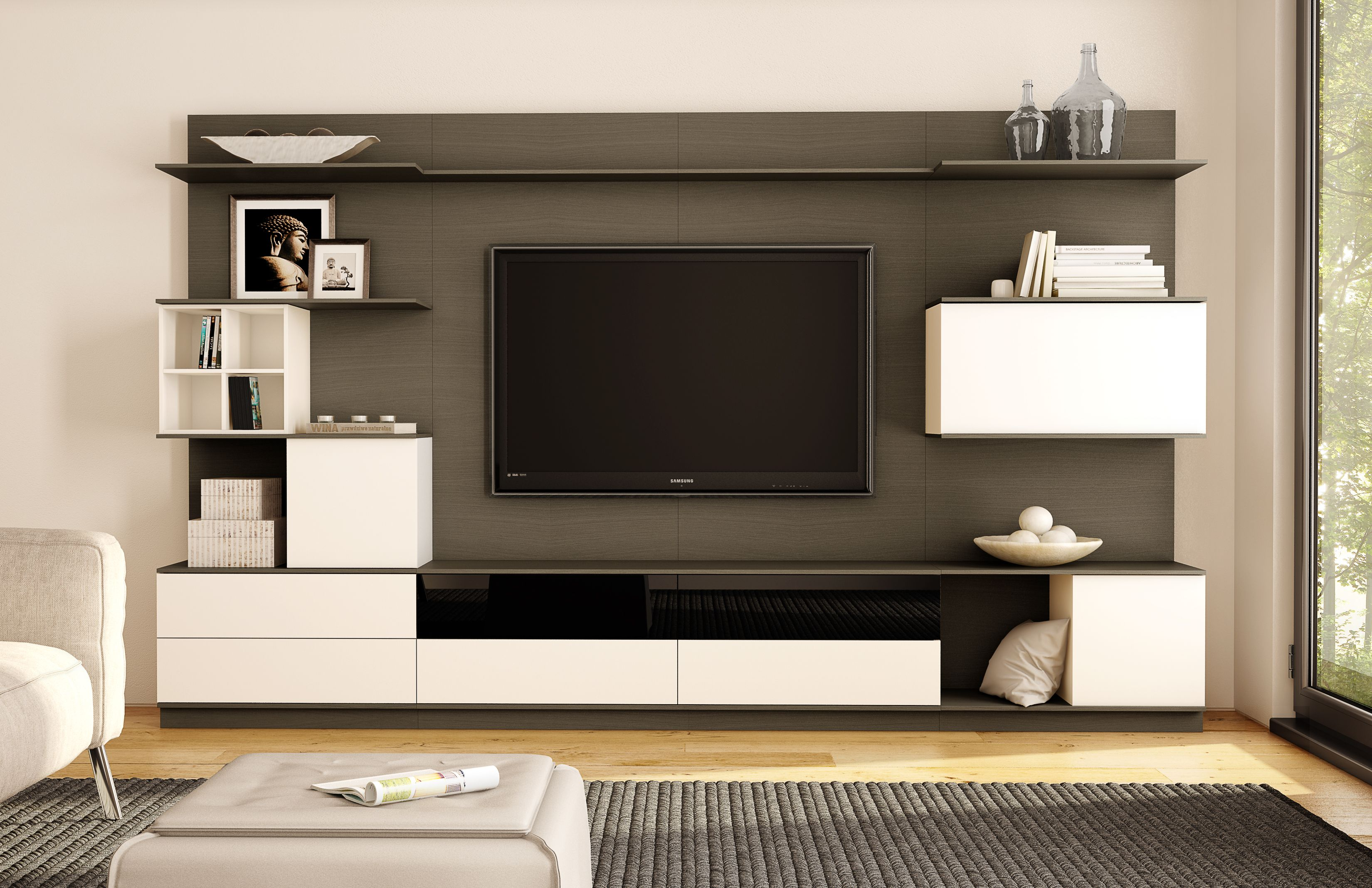 Modern Slate Stained Wood Panel Entertainment Wall Unit