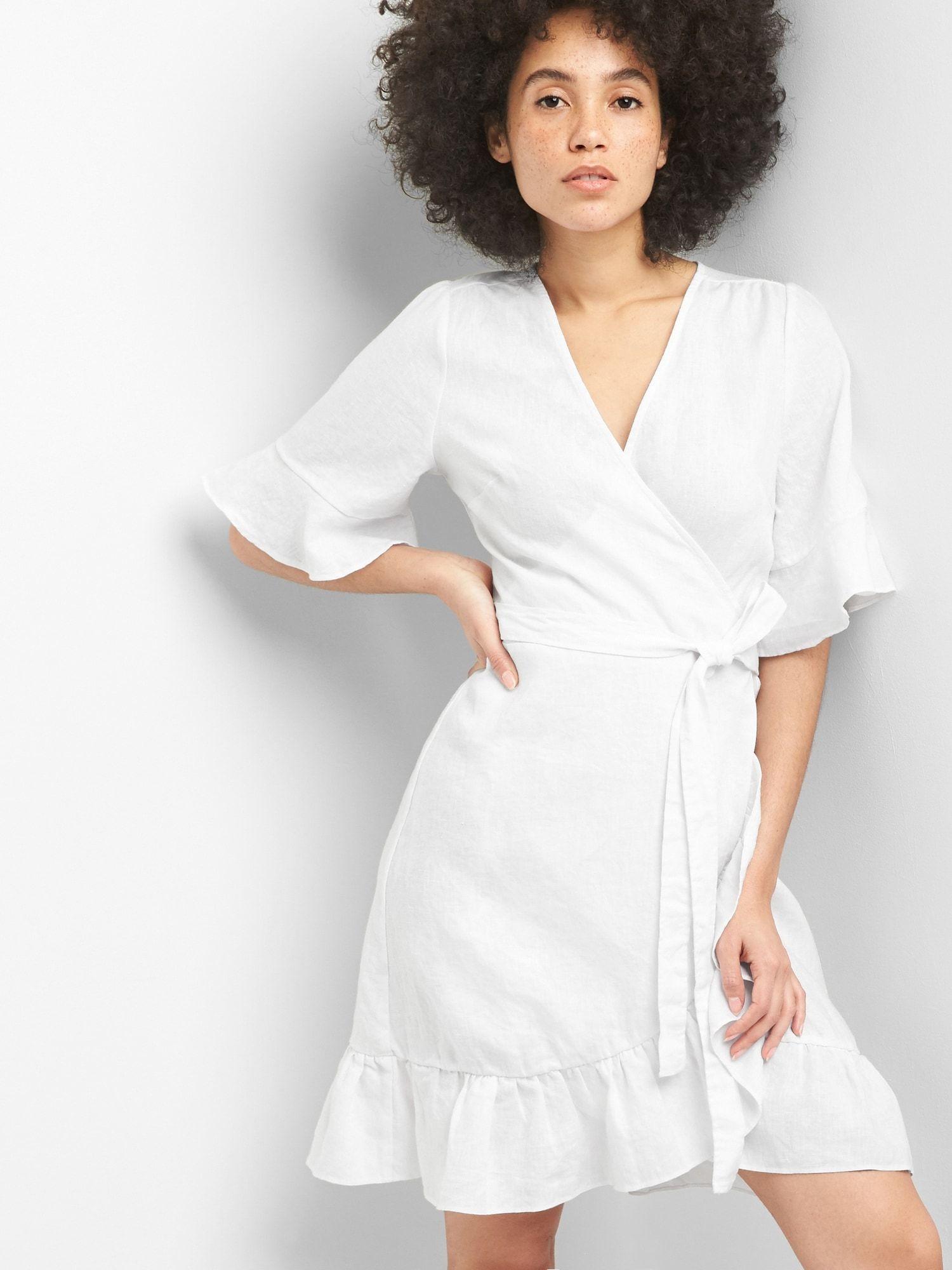 5e95e8a4e44 Ruffle Wrap Dress in Linen-Cotton