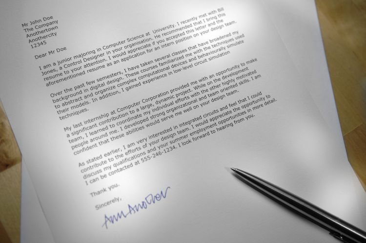 Example of the Layout to Use When Writing a Business Letter - internship thank you letter
