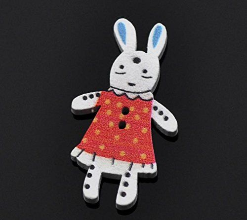 50 Pieces Red Cute Rabbit Wooden Buttons 2 Holes Craft And Scrapbooking 37x20mm(1 4/8'x6/8') Sewing Accessories * Check out the image by visiting the link.