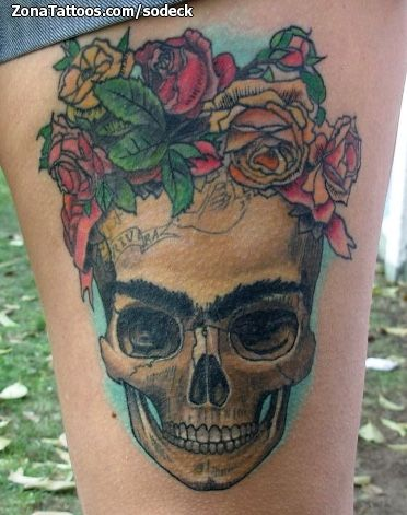 Tatuaje De Frida Kahlo Calaveras Flores Tatoo Pinterest