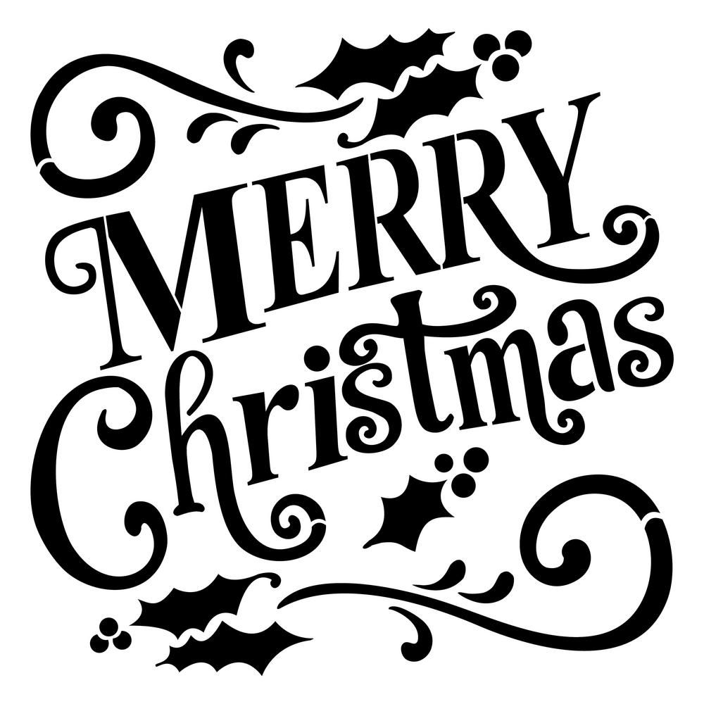 Designer Stencils Merry Christmas Sign Stencil FS041 - The Home Depot
