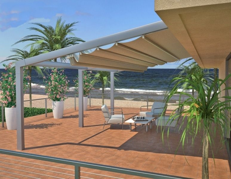 Retractable water proof not water resistant attached for Retractable patio awning canopy