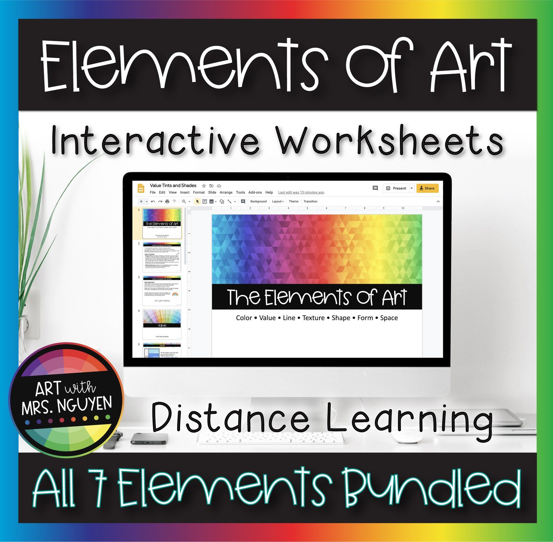 Elements Of Art Interactive Worksheets For Distance