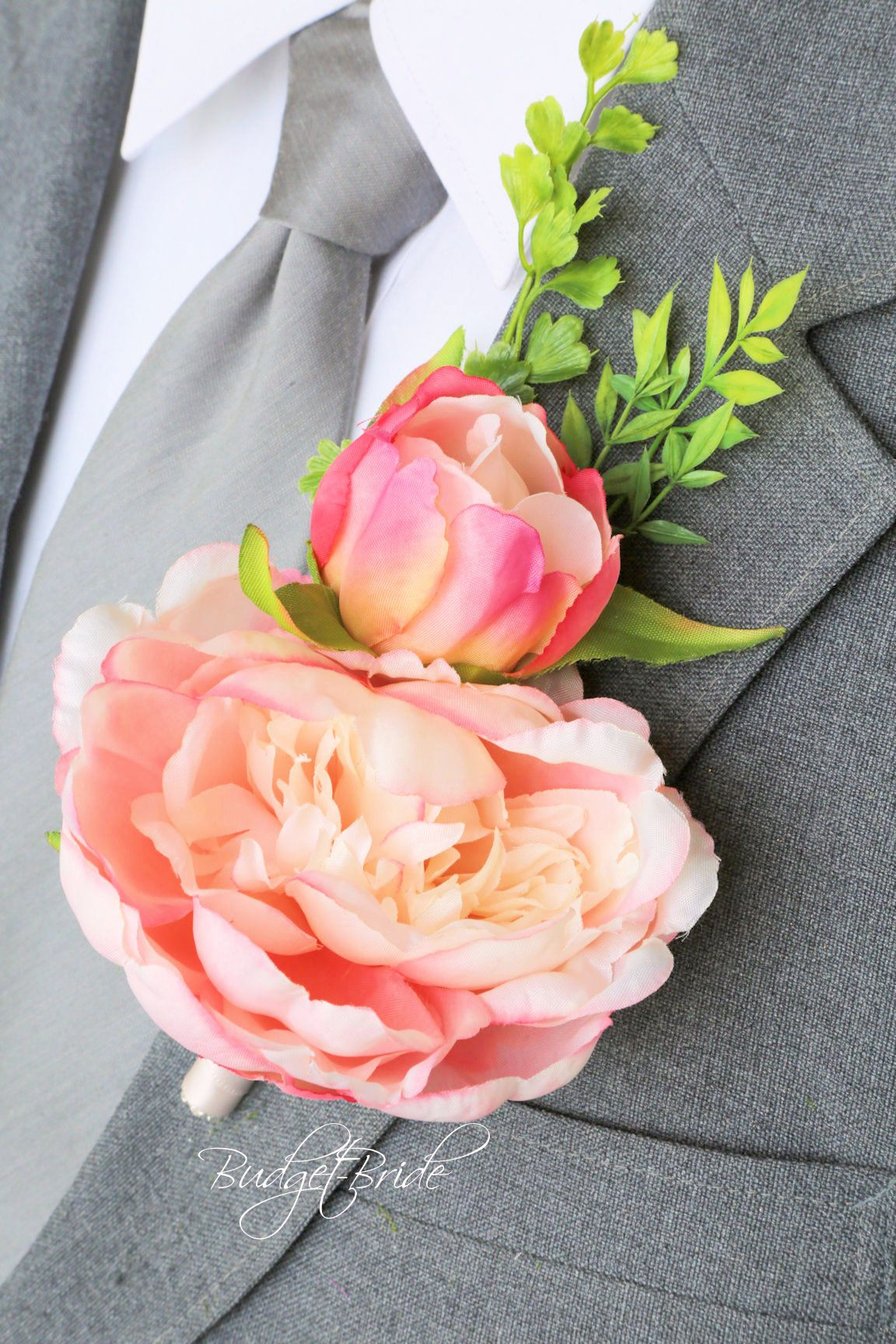 Blush Davids Bridal Wedding Flowers Pink Peony Boutonniere Grey Suit