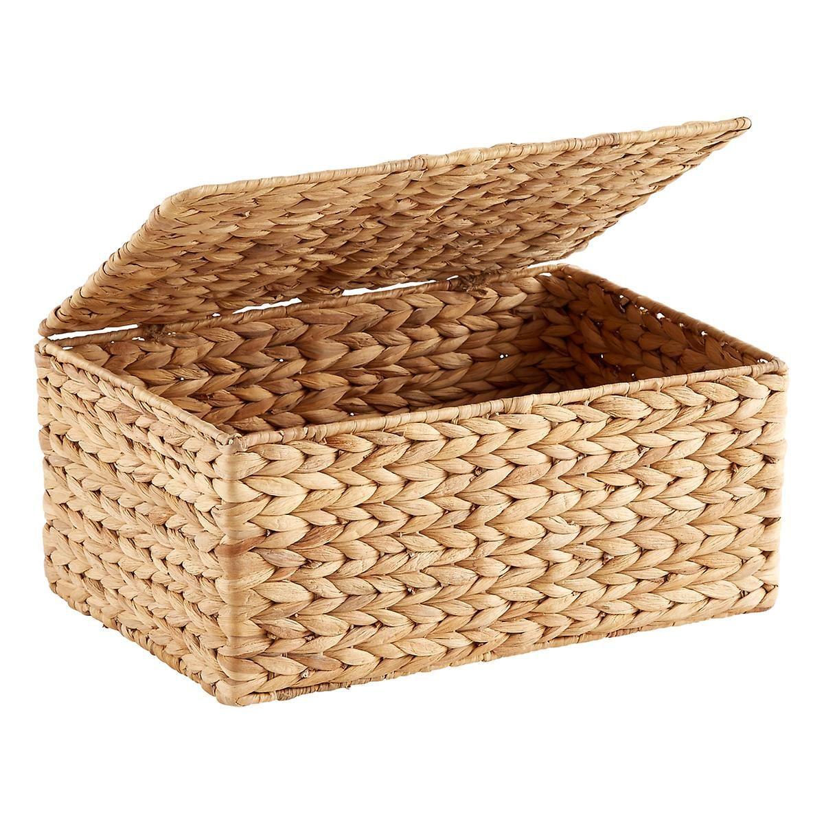 Small Water Hyacinth Storage Box With Hinged Lid Small Storage Boxes Storage Boxes With Lids Small Storage