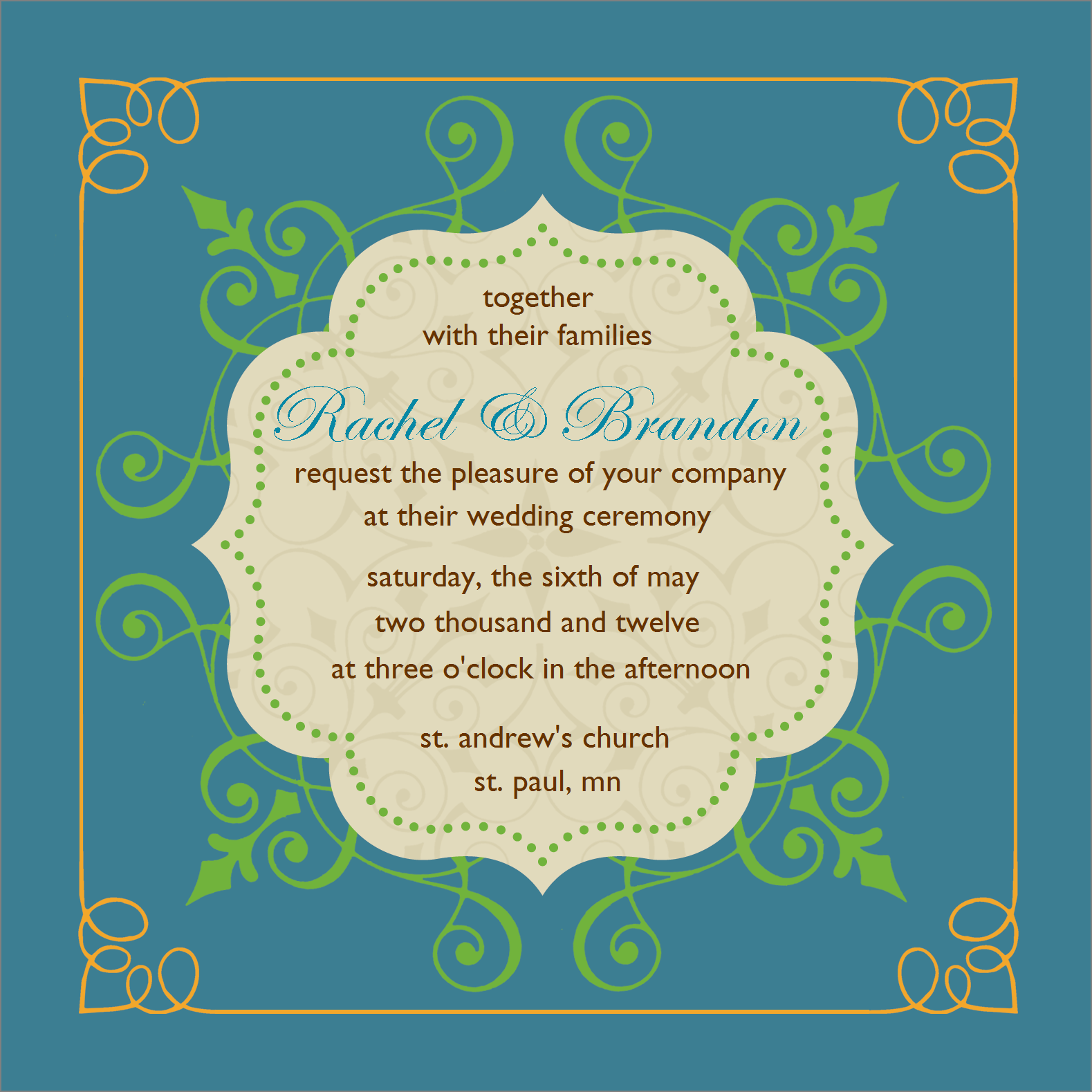 Flat Square Invitation - Hearts A Flutter (Blue)