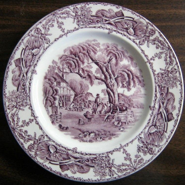 China patterns & Purple Toile Transferware Inn Horses Chickens Plate M | Toile ...