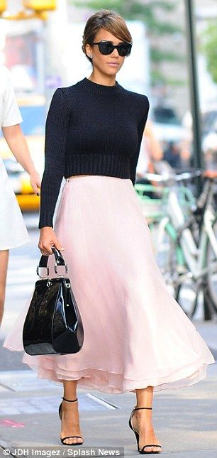7551a432bb Jessica Alba outshines the catwalk models in pretty pink chiffon skirt at  Ralph Lauren NYFW runway show | Mail Online