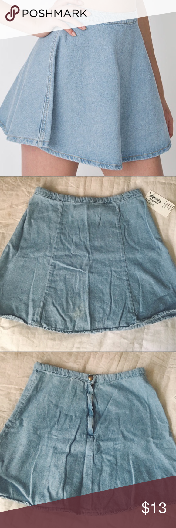 American Apparel lulu denim skirt Size small. Has slight discoloration in front not sure what it's from, it's been in storage however when worn it's not very noticeable, especially if you wear the zipper to the side.  •no trades or holds✖️ •I'm only on poshmark✔️ •use offer button please💙 •same/next day shipping📬 American Apparel Skirts Circle & Skater