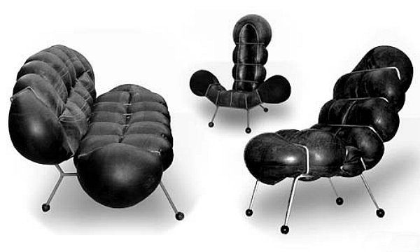 tire tube chairs u0026 setee by nir ohayon handmade metal frames with inflated tubes stuffed in
