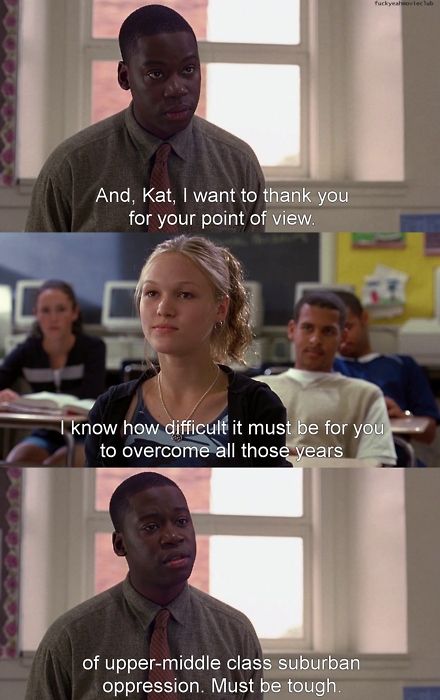 the english teacher is the best! 10 Things I Hate About You...favorite movie!