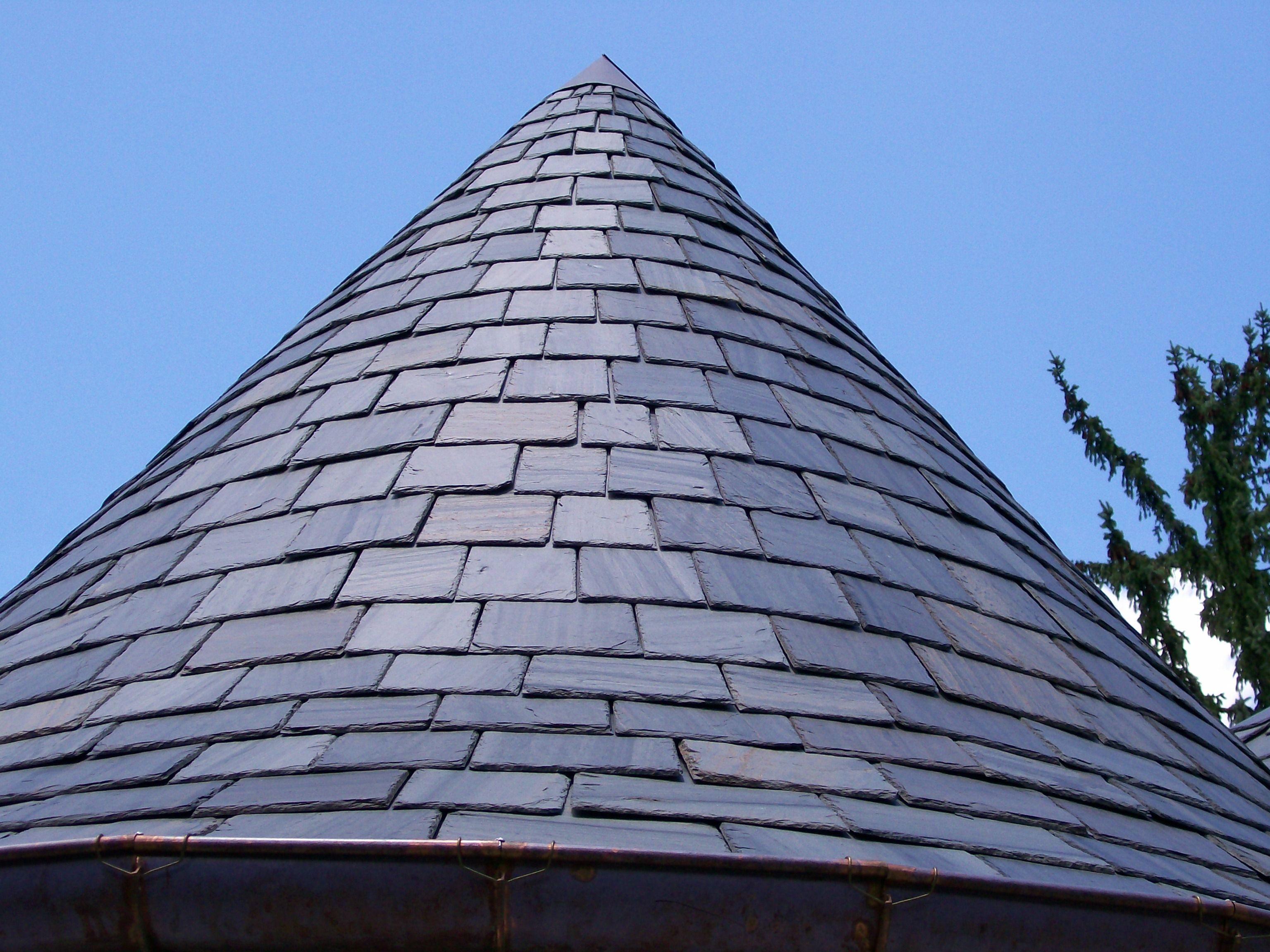 Traditional Slate On A Round Turret Turret Roof Garden Slate Roof